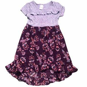 Wonder Nation Floral Short Sleeve Uneven Dress-SZS
